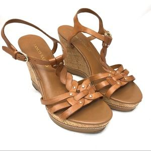 Franco Sarto Suzi tan leather wedge sandal size 8